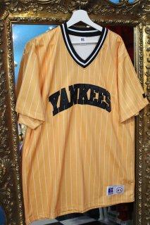 NEW YORK YANKEES STRIPE V-NECK SHIRT(ヤンキース ストライプ Vネック シャツ)