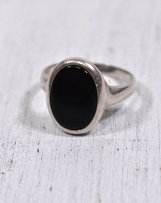 #1209 VINTAGE SILVER ONIX RING FRANCE