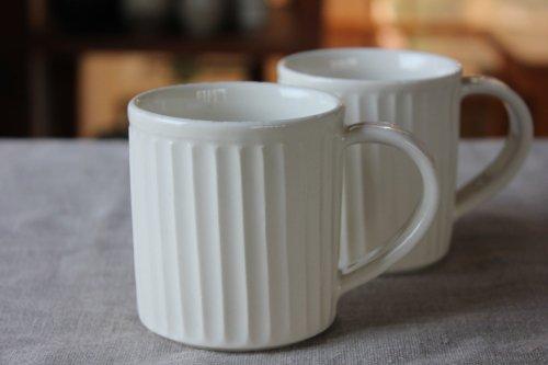 ■カモイケ工房:しのぎマグカップ白