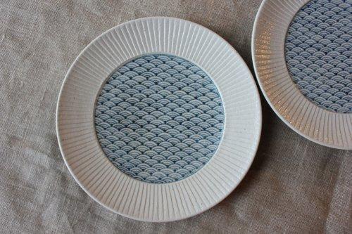 ■阿南維也:染付青海波文鎬5寸皿