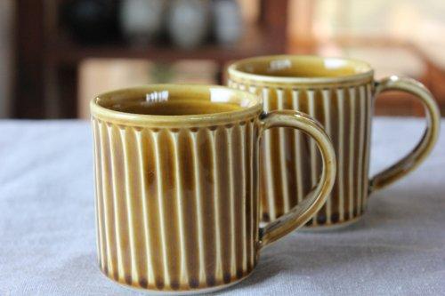■カモイケ工房:しのぎマグカップ黄
