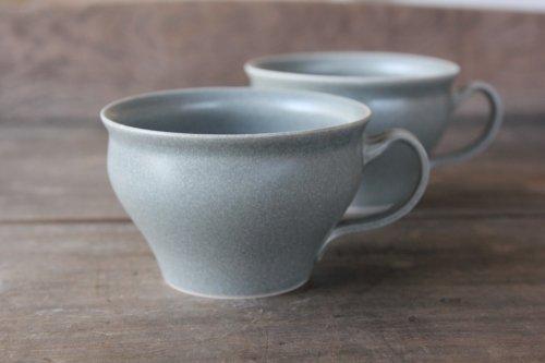 ■桑原哲夫:グレー釉スープマグカップ