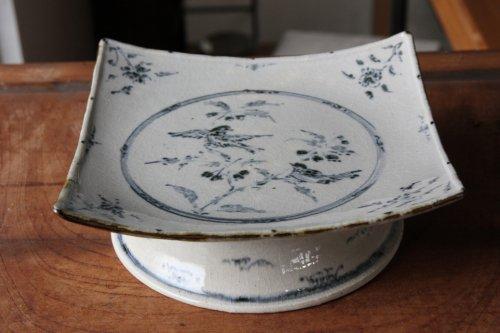 ■藤田佳三:染付四方台皿