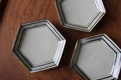 ■高島大樹:六角小皿(ボーダー)