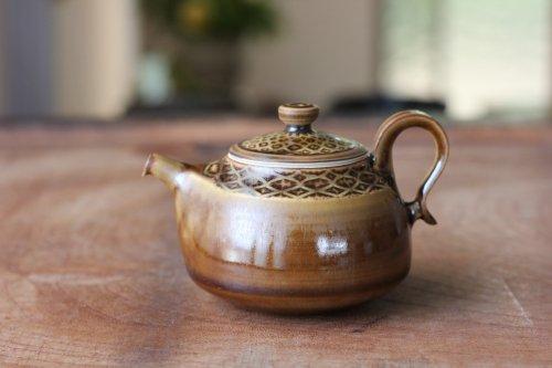 ■増渕篤宥:褐釉釉象嵌茶壷