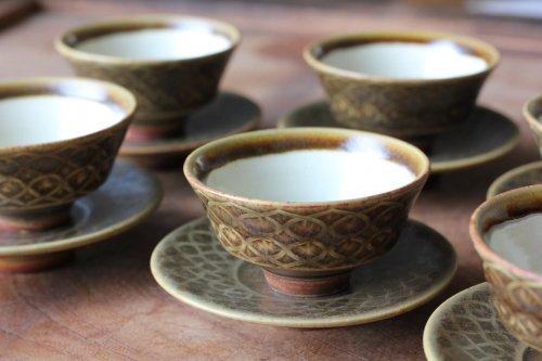 ■増渕篤宥:褐釉釉象嵌茶杯(上下組)A