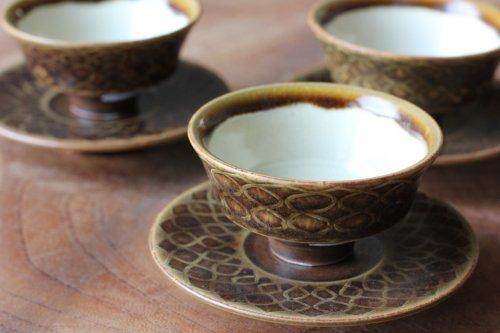 ■増渕篤宥:褐釉釉象嵌茶杯(上下組)B