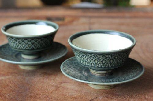 ■増渕篤宥:青釉釉象嵌茶杯(上下組)A