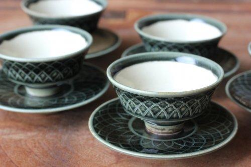 ■増渕篤宥:青釉釉象嵌茶杯(上下組)B