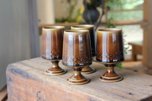 ■増渕篤宥:褐釉釉象嵌リキュールカップ