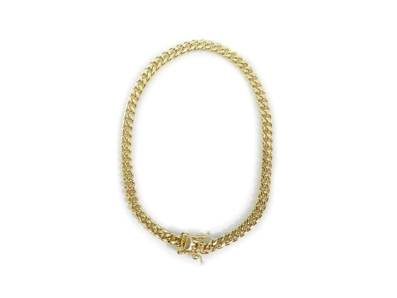 MIAMI CUBAN CHAIN BRACELET 10K YG 20cm 【SOLID】