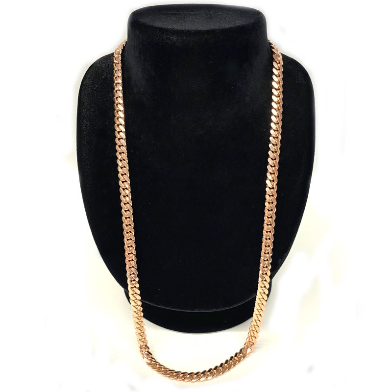 MIAMI CUBAN CHAIN 10K Rose Gold 7mm,60cm 【SOLID】