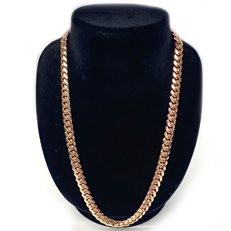 MIAMI CUBAN CHAIN 10K Rose Gold 8.5mm,50cm 【SOLID】
