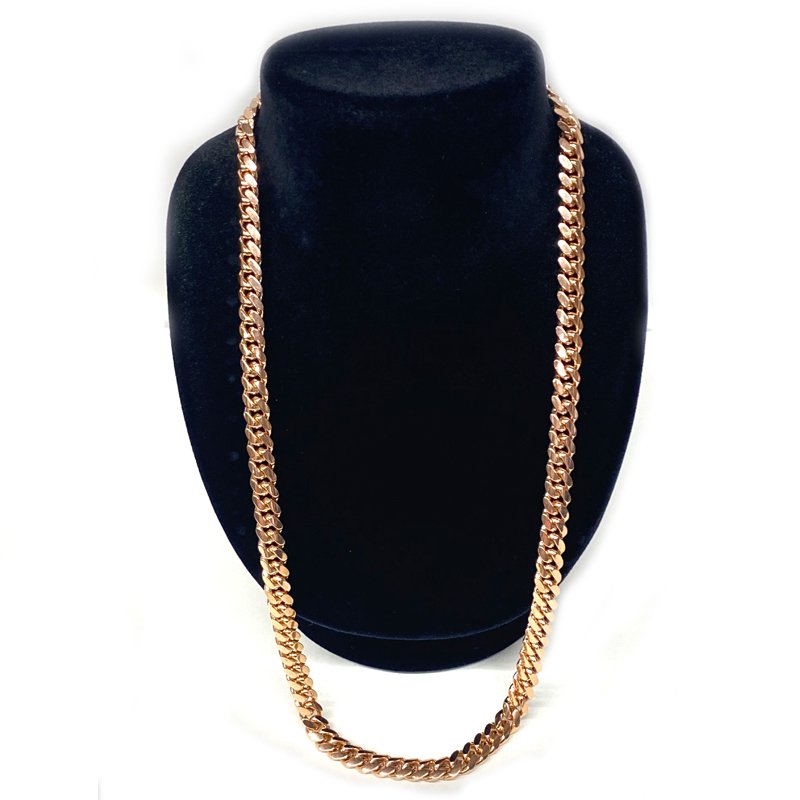MIAMI CUBAN CHAIN 10K Rose Gold 8.5mm,60cm 【SOLID】
