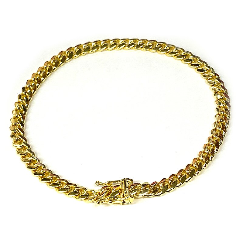 MIAMI CUBAN CHAIN BRACELET 10K YG 5mm 20cm