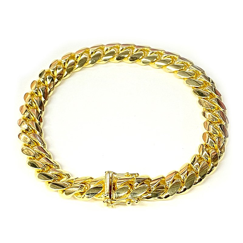 MIAMI CUBAN CHAIN BRACELET 10K YG 9mm 20cm