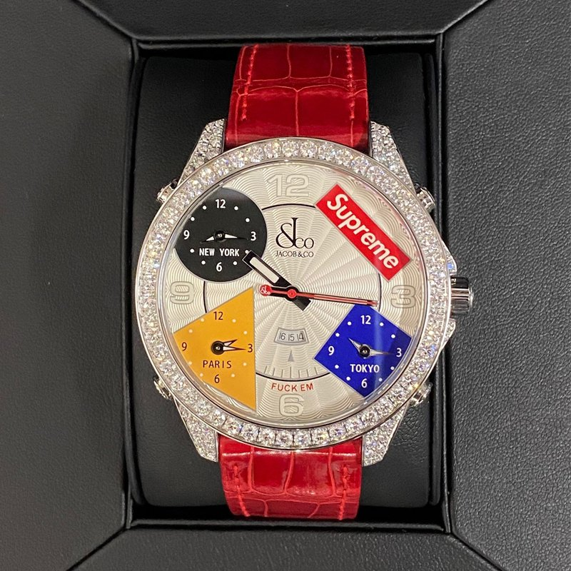 Supreme®/Jacob & Co Time Zone 47mm Watches-Red  Diamond custom
