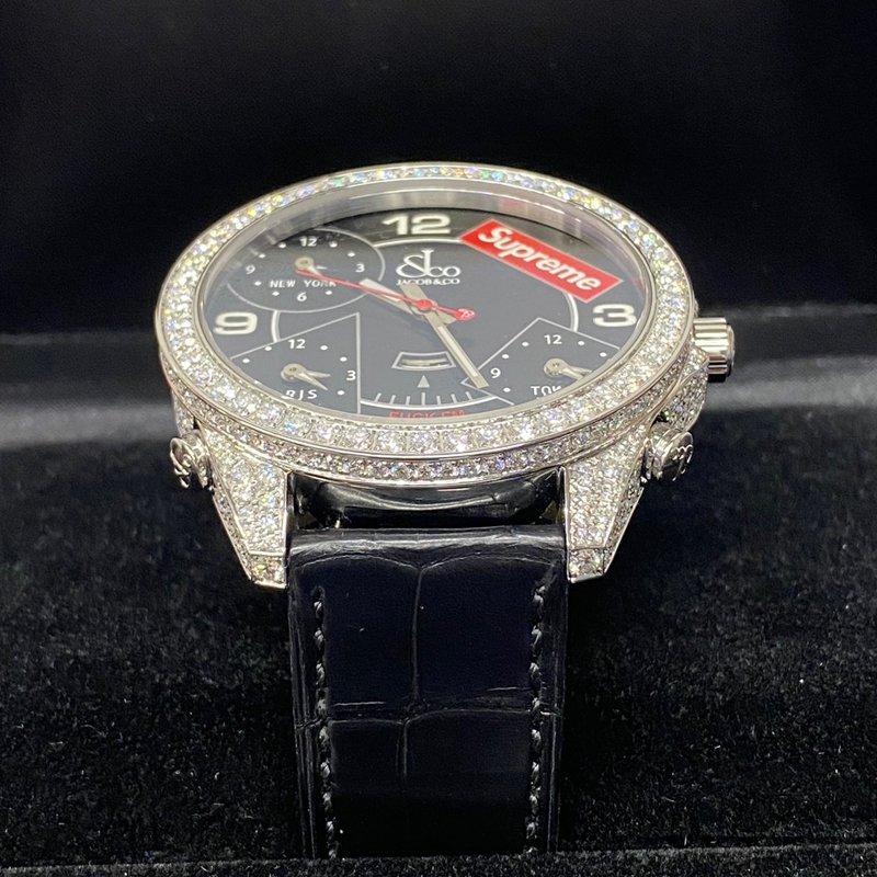 Supreme®/Jacob & Co Time Zone 47mm Watches-Black  Diamond custom