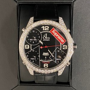 Supreme®/Jacob & Co Time Zone 47mm Watches-Black  Diamond custom