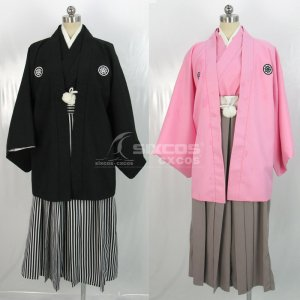男性 和服 風 コスプレ衣装 黒 Male Japanese Kimono Haori Hakama Black Cosplay Costume