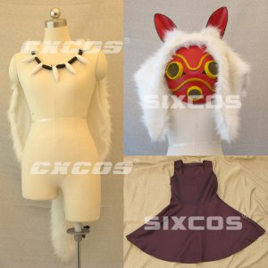 もののけ姫 サン 風 コスプレ衣装 道具付 Princess Mononoke-San Cosplay Costume B