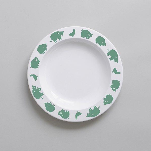 <img class='new_mark_img1' src='https://img.shop-pro.jp/img/new/icons8.gif' style='border:none;display:inline;margin:0px;padding:0px;width:auto;' />BUDDYANDBEAR バディーアンドベアー Farm Animal Plate (Green)ファームアニマル プレート