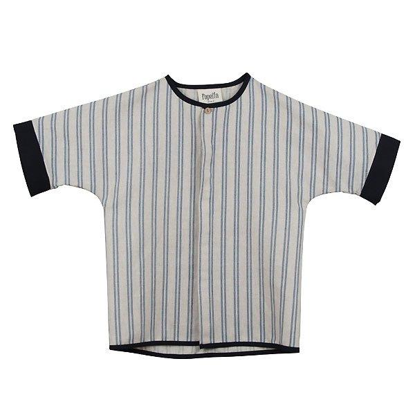 <img class='new_mark_img1' src='https://img.shop-pro.jp/img/new/icons8.gif' style='border:none;display:inline;margin:0px;padding:0px;width:auto;' />Popelin ポペリン Mod.20.2 Blue stripes cuff shirt ワンボタンシャツ ブルー