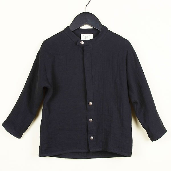 <img class='new_mark_img1' src='https://img.shop-pro.jp/img/new/icons8.gif' style='border:none;display:inline;margin:0px;padding:0px;width:auto;' />Popelin ポペリン Mod.16.2 Black mandarin collar shirt マンダリンカラーシャツ