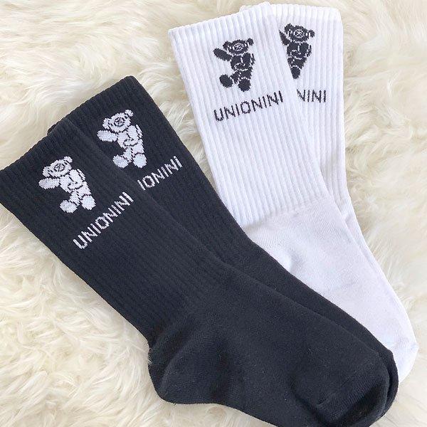<img class='new_mark_img1' src='https://img.shop-pro.jp/img/new/icons8.gif' style='border:none;display:inline;margin:0px;padding:0px;width:auto;' />UNIONINI ユニオニーニ jacquard teddybear socks テディベアソックス ホワイト