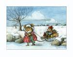 Mouse Sled クリスマスカード Wee Forest Folk