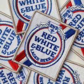 Red White & Blue Beer Patches Deadstock
