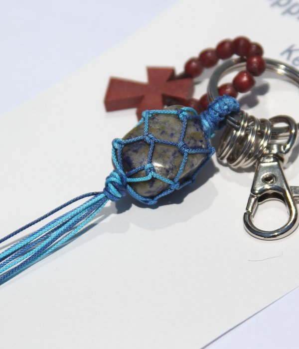 POWER STONE & WOOD CROSS KEY HOLDER