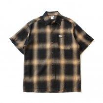CalTop / 2000 オンブレチェック S/Sシャツ - Brown/Khaki