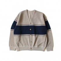 crepuscule / BD KANOKO C/D 2001-002 Gray x Navy ボーダー鹿の子編みカーディガン<img class='new_mark_img2' src='https://img.shop-pro.jp/img/new/icons47.gif' style='border:none;display:inline;margin:0px;padding:0px;width:auto;' />