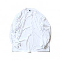 SMOKE T ONE / Dry Pique Mock Neck L/S ドライ鹿の子モックネック長袖Tシャツ - White