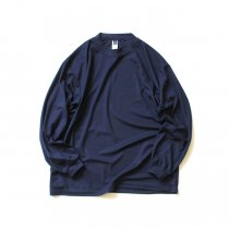 SMOKE T ONE / Dry Pique Mock Neck L/S ドライ鹿の子モックネック長袖Tシャツ - Navy<img class='new_mark_img2' src='https://img.shop-pro.jp/img/new/icons20.gif' style='border:none;display:inline;margin:0px;padding:0px;width:auto;' />