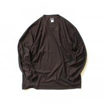 SMOKE T ONE / Dry Pique Mock Neck L/S ドライ鹿の子モックネック長袖Tシャツ - Brown