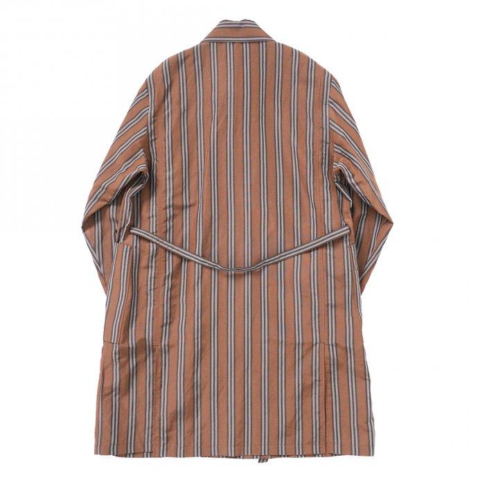 157624345 STILL BY HAND / CO02211 オリジナルストライプ素材 ガウンコート - Brown Stripe 02