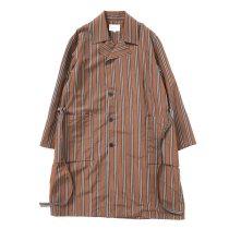 STILL BY HAND / CO02211 オリジナルストライプ素材 ガウンコート - Brown Stripe
