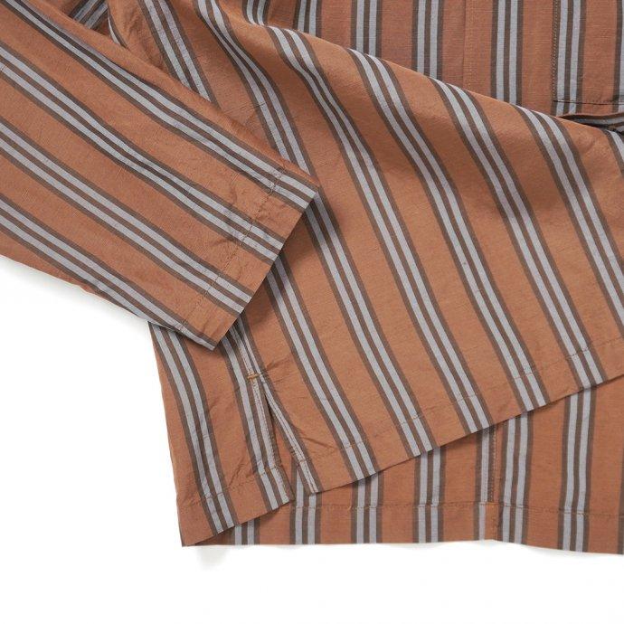 157624643 STILL BY HAND / BL03211 オリジナルストライプ素材 オープンカラージャケット - Brown Stripe 02