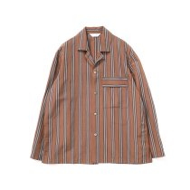 STILL BY HAND / BL03211 オリジナルストライプ素材 オープンカラージャケット - Brown Stripe<img class='new_mark_img2' src='https://img.shop-pro.jp/img/new/icons47.gif' style='border:none;display:inline;margin:0px;padding:0px;width:auto;' />