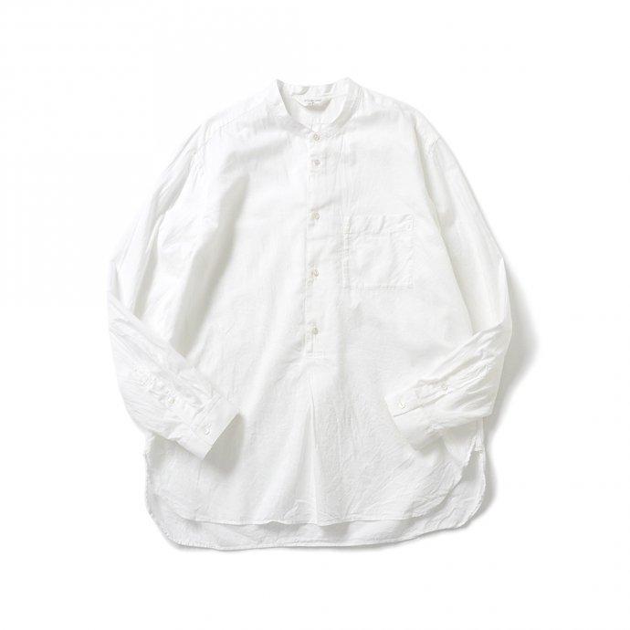 158124166 STILL BY HAND / SH04211 シルク混 バンドカラー プルオーバーシャツ - White 01