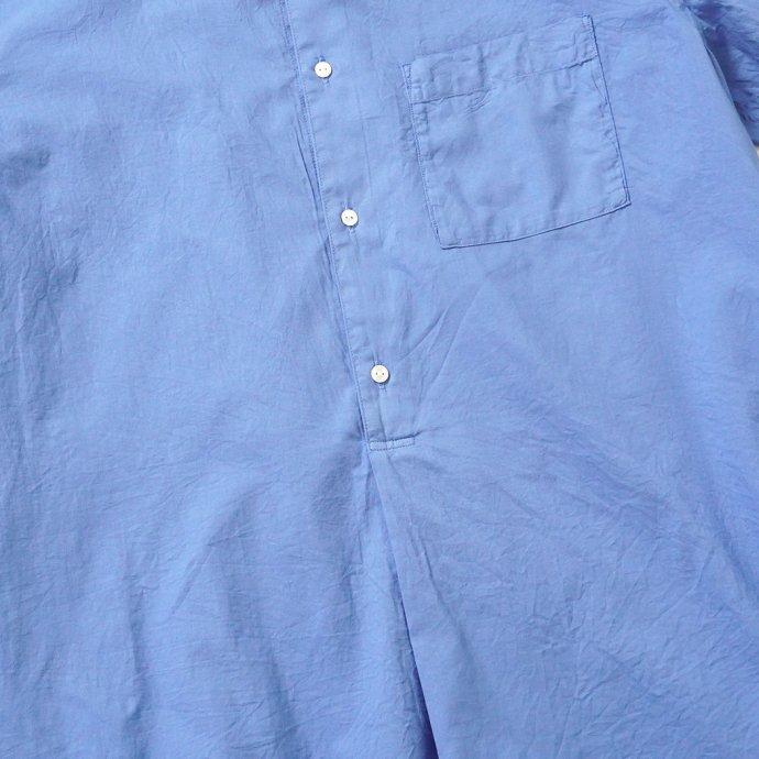 158126200 STILL BY HAND / SH04211 シルク混 バンドカラー プルオーバーシャツ - Blue 02