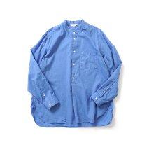 STILL BY HAND / SH04211 シルク混 バンドカラー プルオーバーシャツ - Blue
