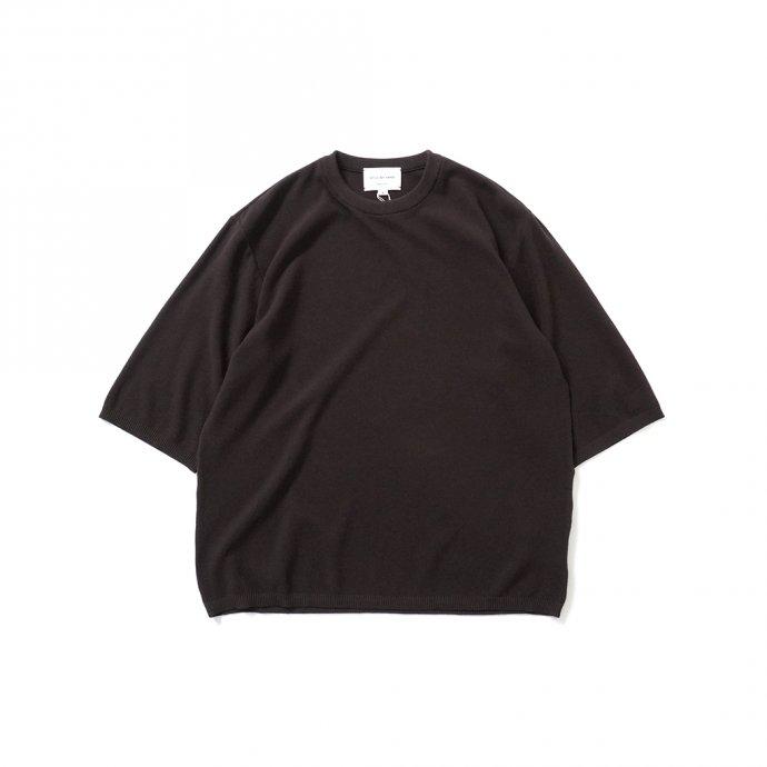 STILL BY HAND / KN04211 シルク混 ニットTシャツ - Brown