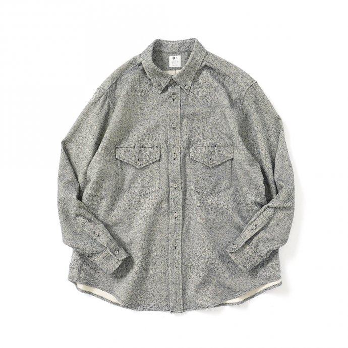 158345114 O-(オー)/ C/S B.D. SHIRT コットンシルクボタンダウンシャツ 21S-05 Heather Black 01