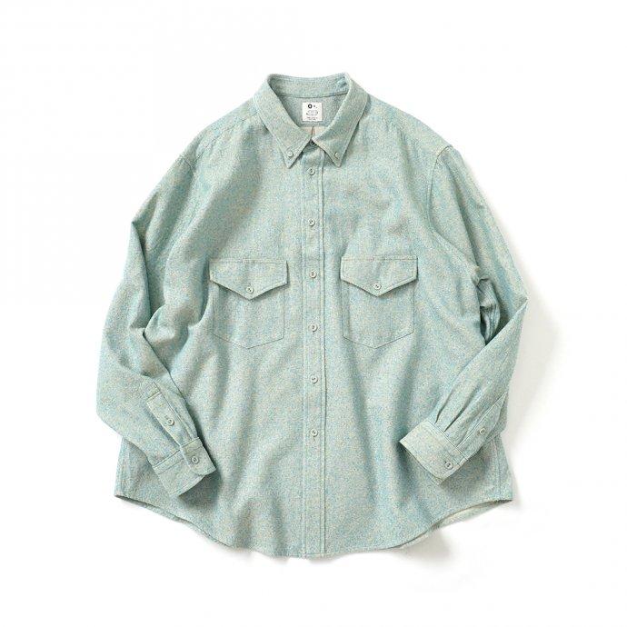 158345195 O-(オー)/ C/S B.D. SHIRT コットンシルクボタンダウンシャツ 21S-05 Heather Blue 01