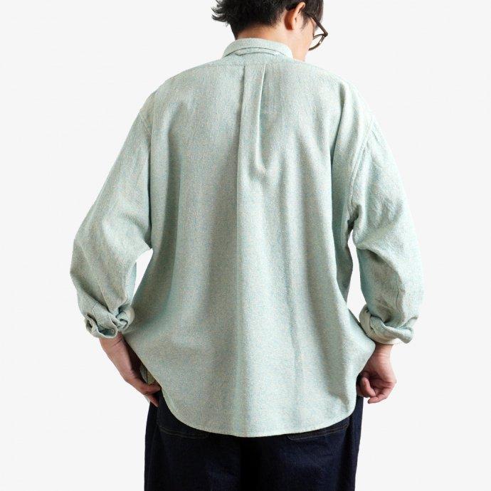 158345195 O-(オー)/ C/S B.D. SHIRT コットンシルクボタンダウンシャツ 21S-05 Heather Blue 02