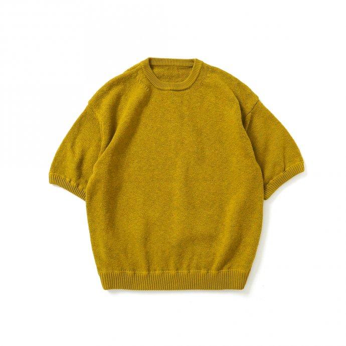158730638 crepuscule / 2101-004 GARMENT DYE S/S - Mustard ガーメントダイ半袖ニット マスタード 01