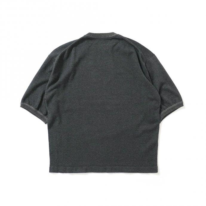 158730910 crepuscule / 2101-007 S/S KNIT - C.Gray×Brown 半袖ニット チャコールグレー×ブラウン 02